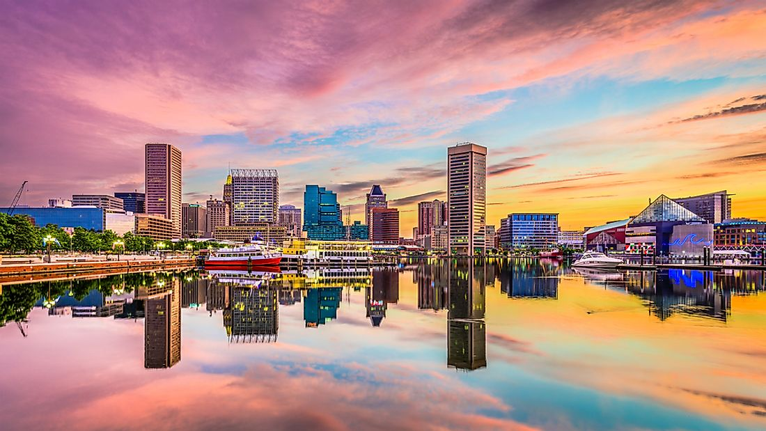 The skyline of Baltimore, Maryland as seen from Inner Harbor.