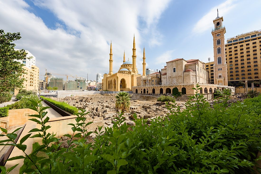 A cathedral and mosque coexisting in Beirut, Lebanon.