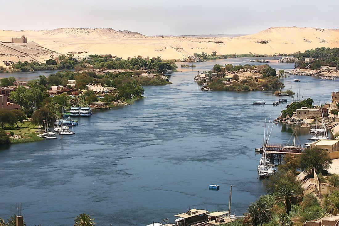 The banks of the River Nile in Aswan, Egypt.