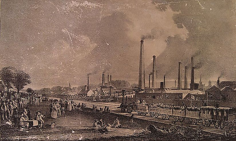 Air pollution rose during the Industrial Revolution, leading to the formulation of the first modern environmental laws.