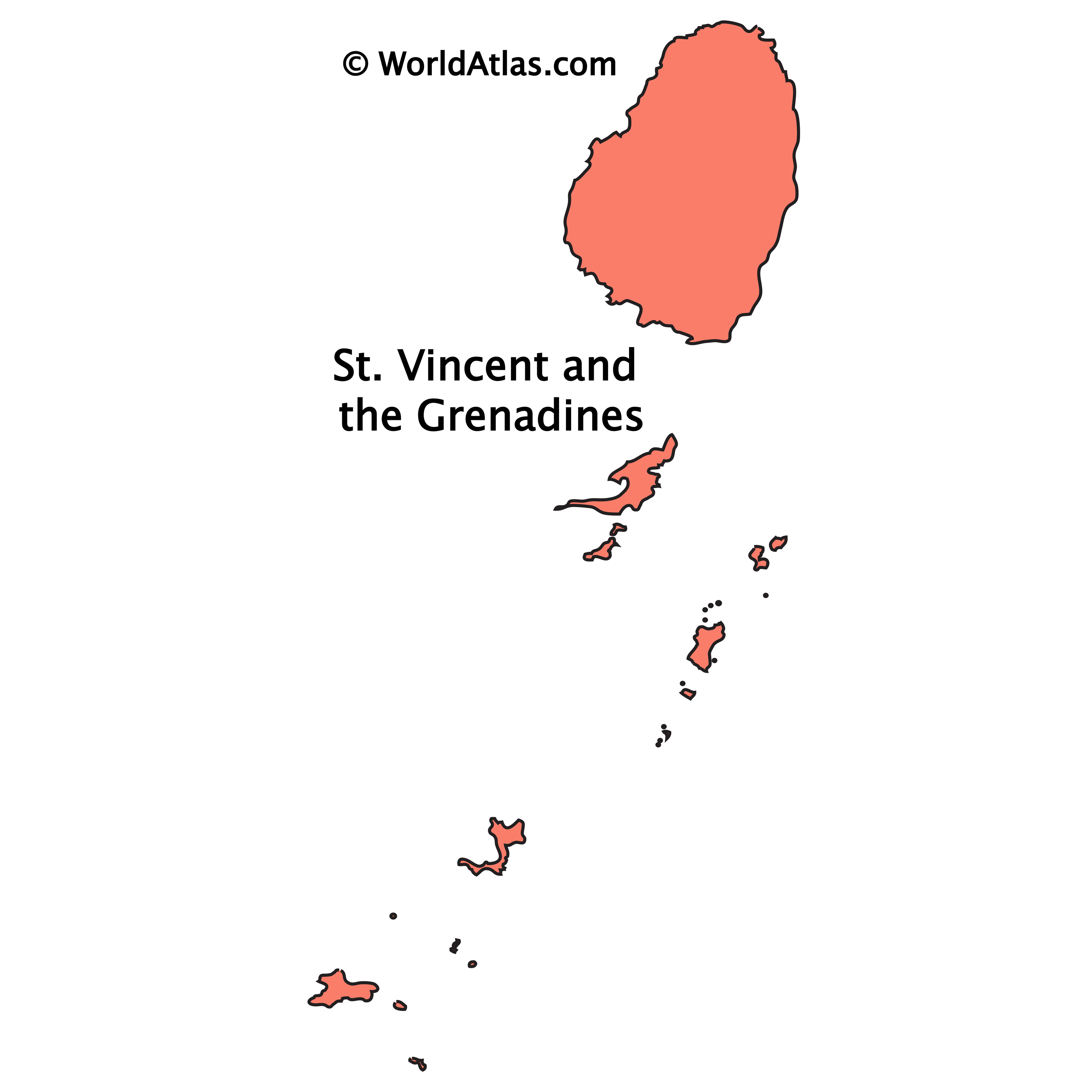 Outline Map of St. Vincent and the Grenadines