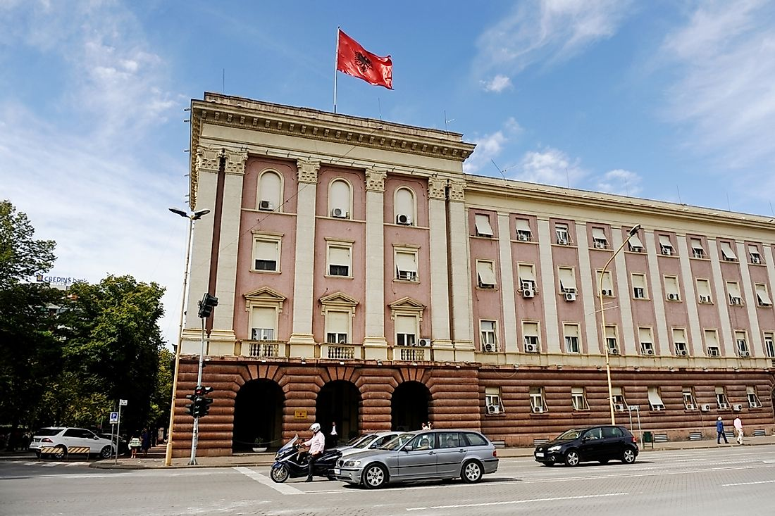 The Albanian government building in Tirana. Editorial credit: roibu / Shutterstock.com.