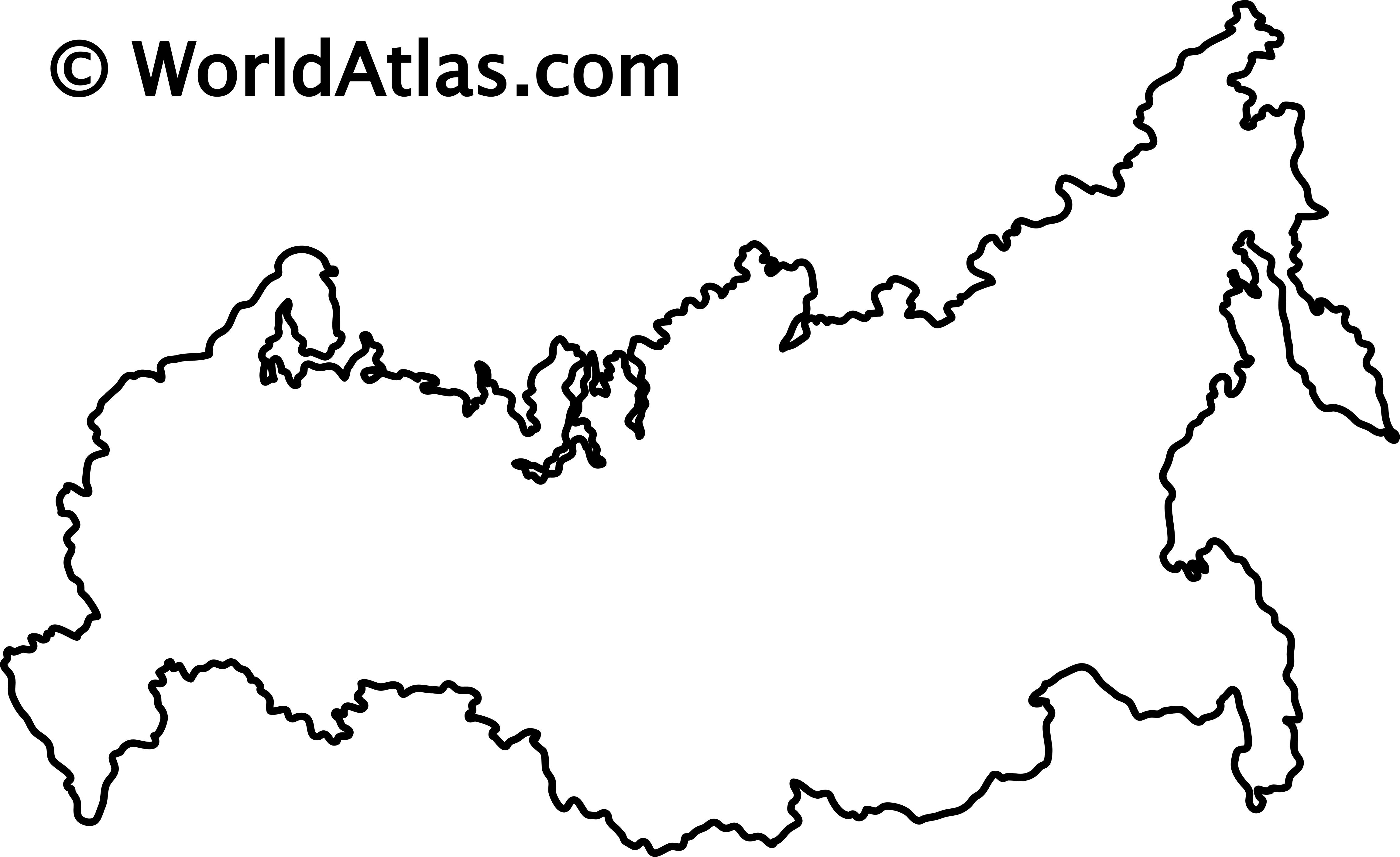 Blank Outline Map of Russia