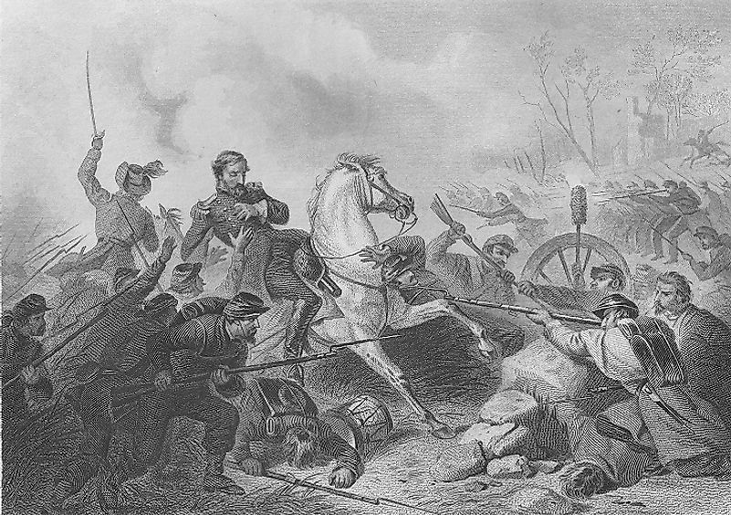 Depiction of Union General Nathaniel Lyon (shown on horseback) being shot while riding in the Battle of Wilson's Creek.