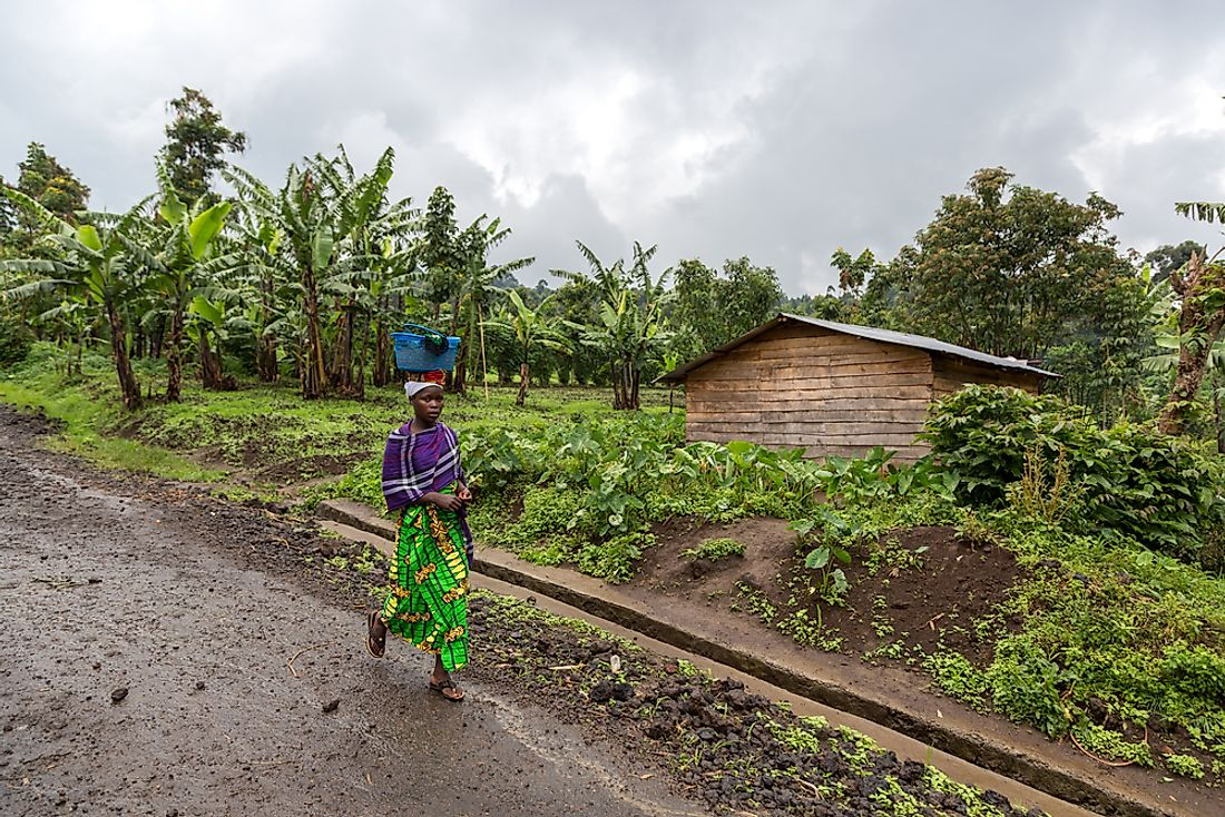 A woman walks in Virunga National Park, the Democratic Republic of the Congo. Editorial credit: LMspencer / Shutterstock.com.