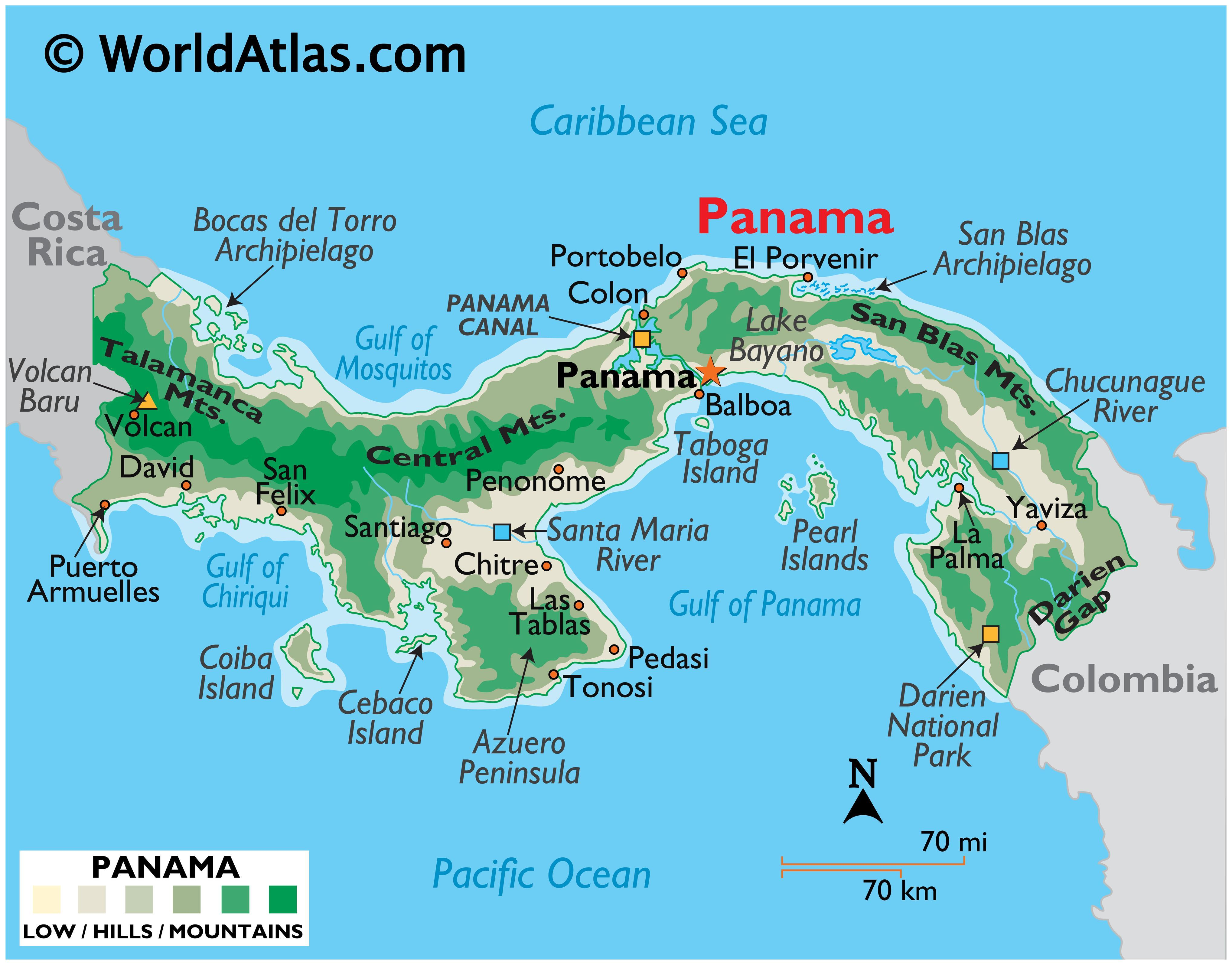 Physical Map of Panama showing terrain, major mountain ranges, extreme points, islands, rivers, lakes, major cities, international boundaries, etc.