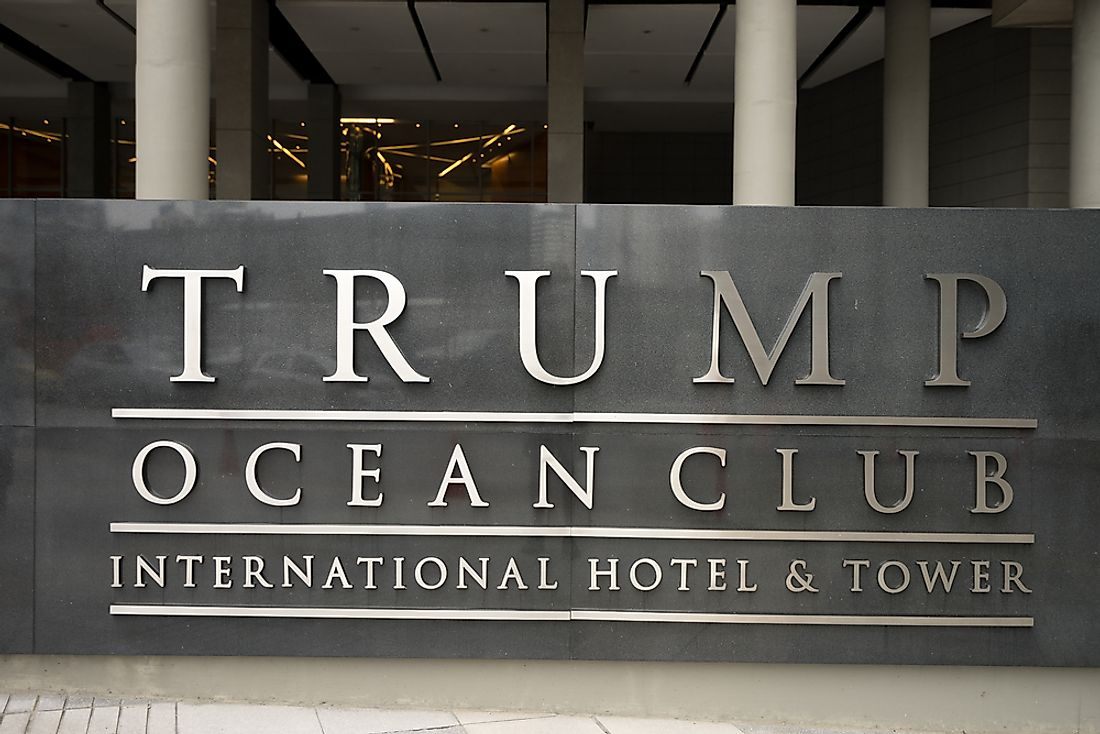 Editorial credit: Barna Tanko / Shutterstock.com. The entrance to the Trump Ocean Club in Panama City, Panama.