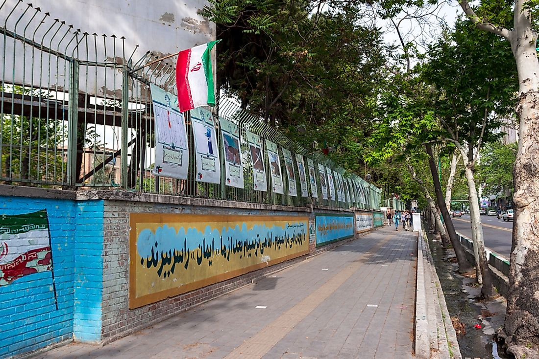 This building was formerly the US Embassy in Tehran, which was the site of the hostage crisis. Editorial credit: Andrew V Marcus / Shutterstock.com.