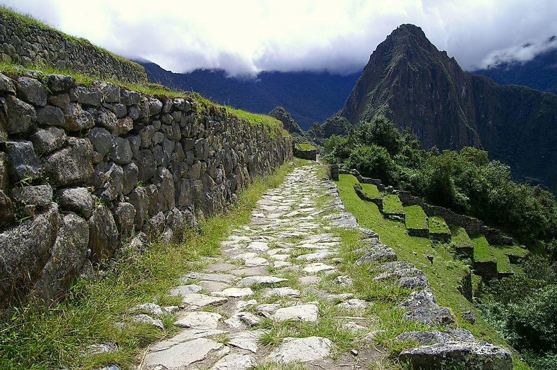 The Inca Trail leading to Machu Picchu.