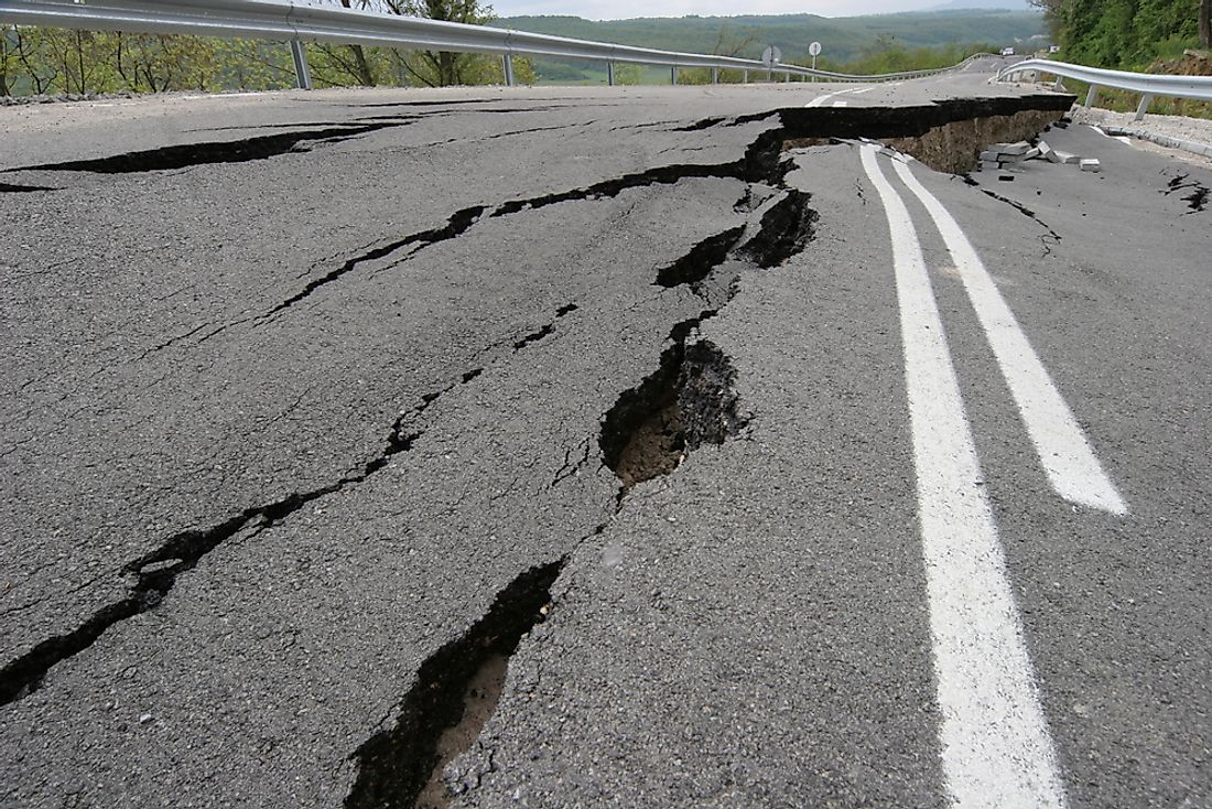 Damage to asphalt caused by an earthquake.