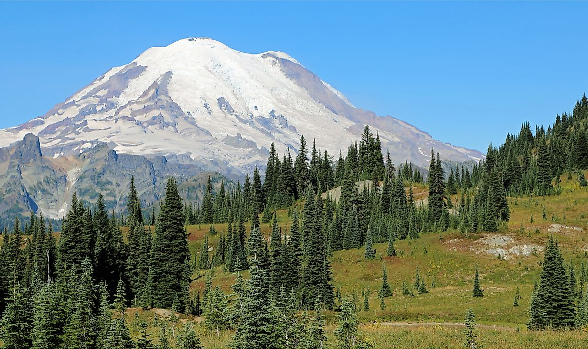 Mount Rainier is the highest peak in the State of Washington.
