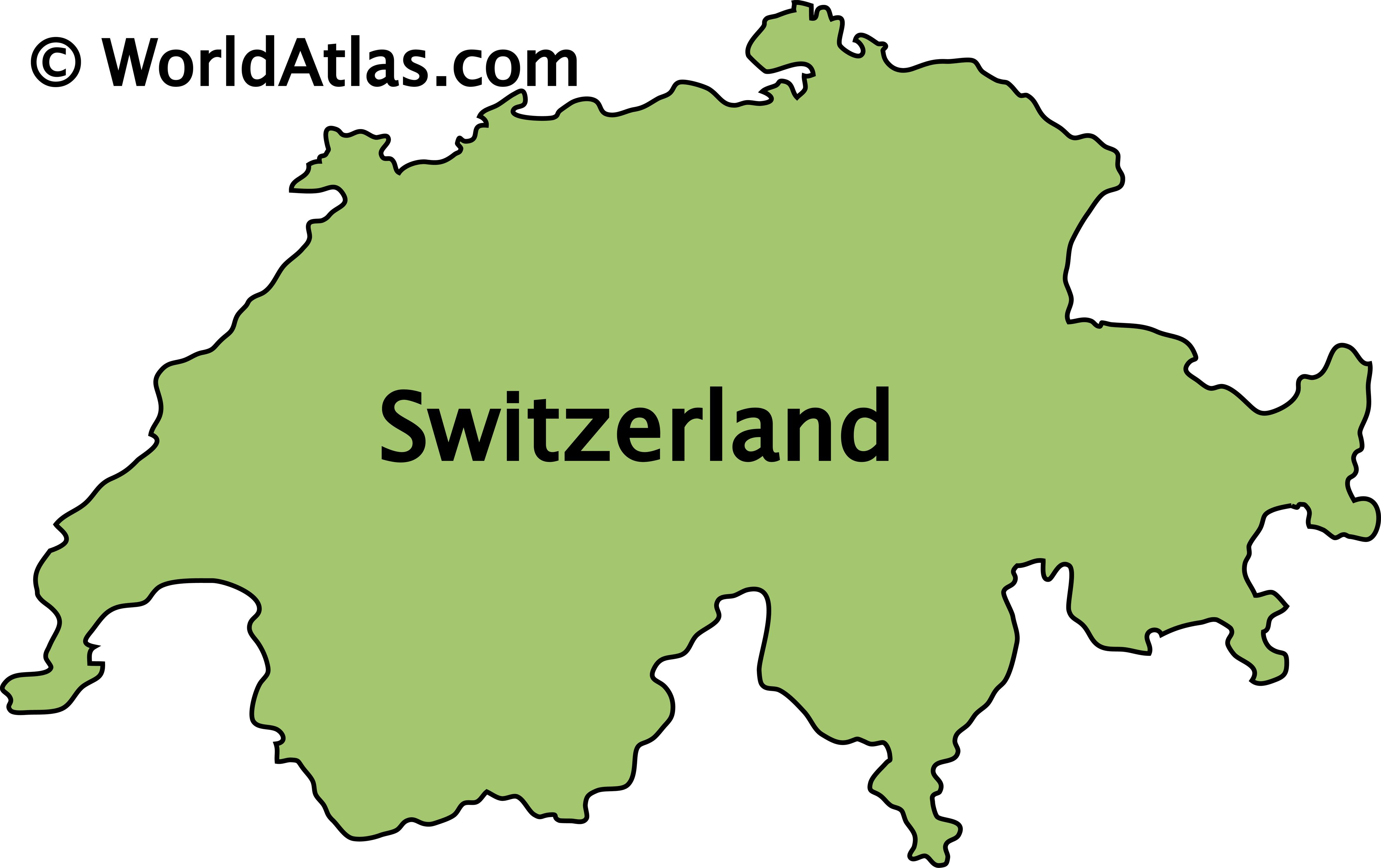 Outline Map of Switzerland