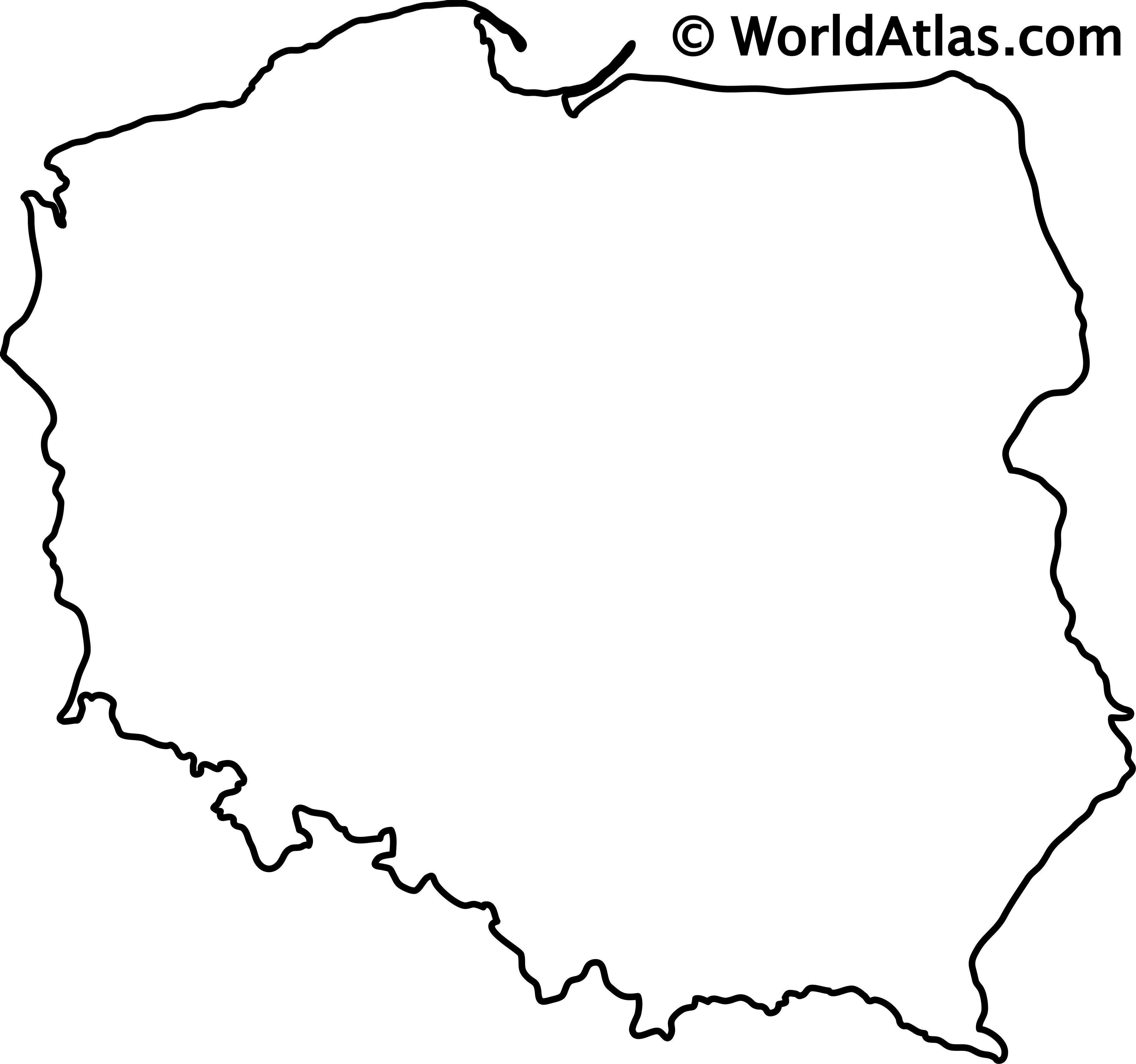 Blank Outline Map of Poland