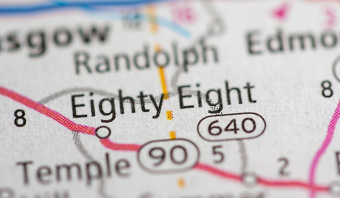 A map showing the town of Eighty Eight on Kentucky Route 90.