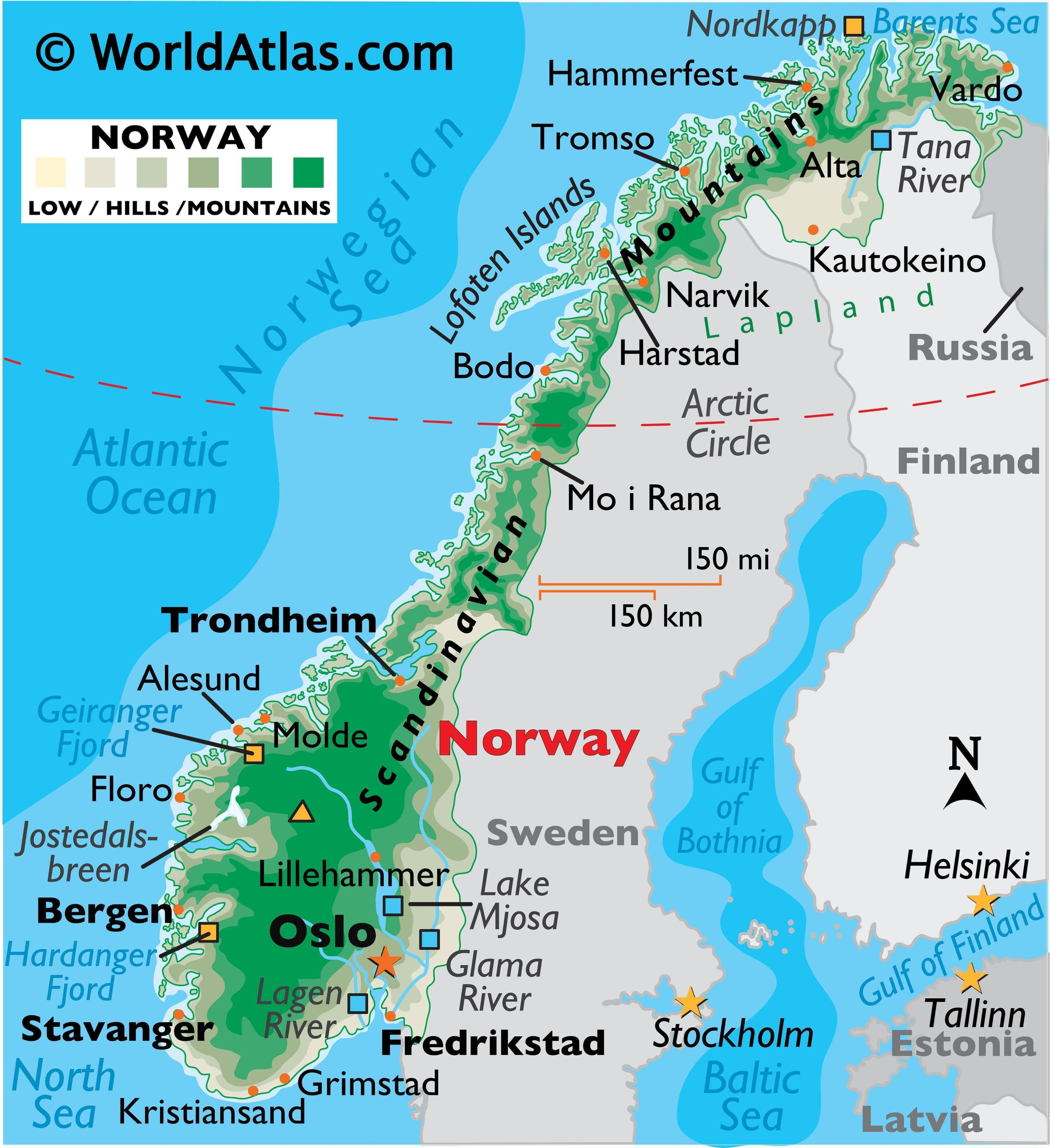 Physical Map of Norway showing relief, international boundaries, major rivers, mountain ranges, extreme points, important cities, islands, etc.