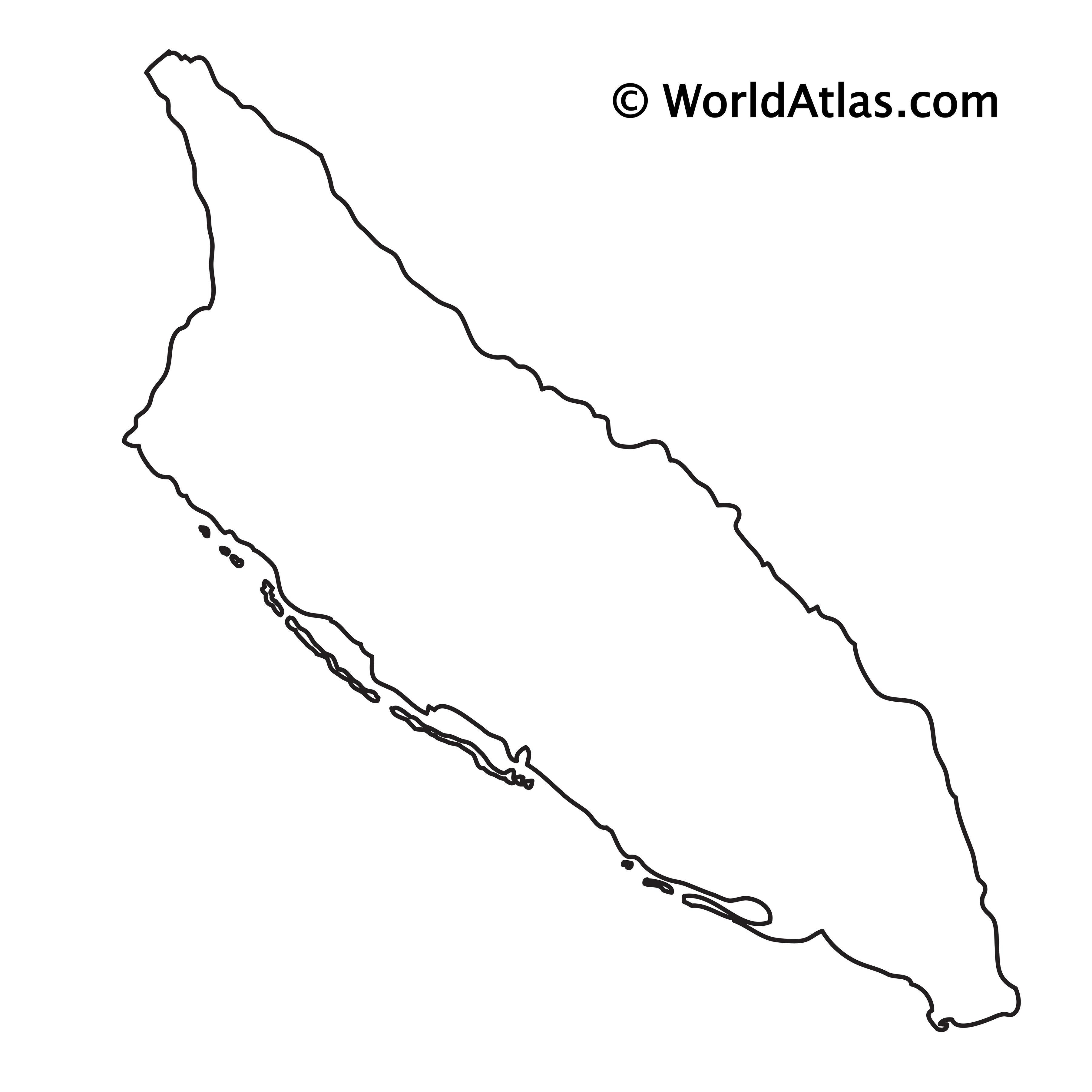 Blank outline map of Aruba