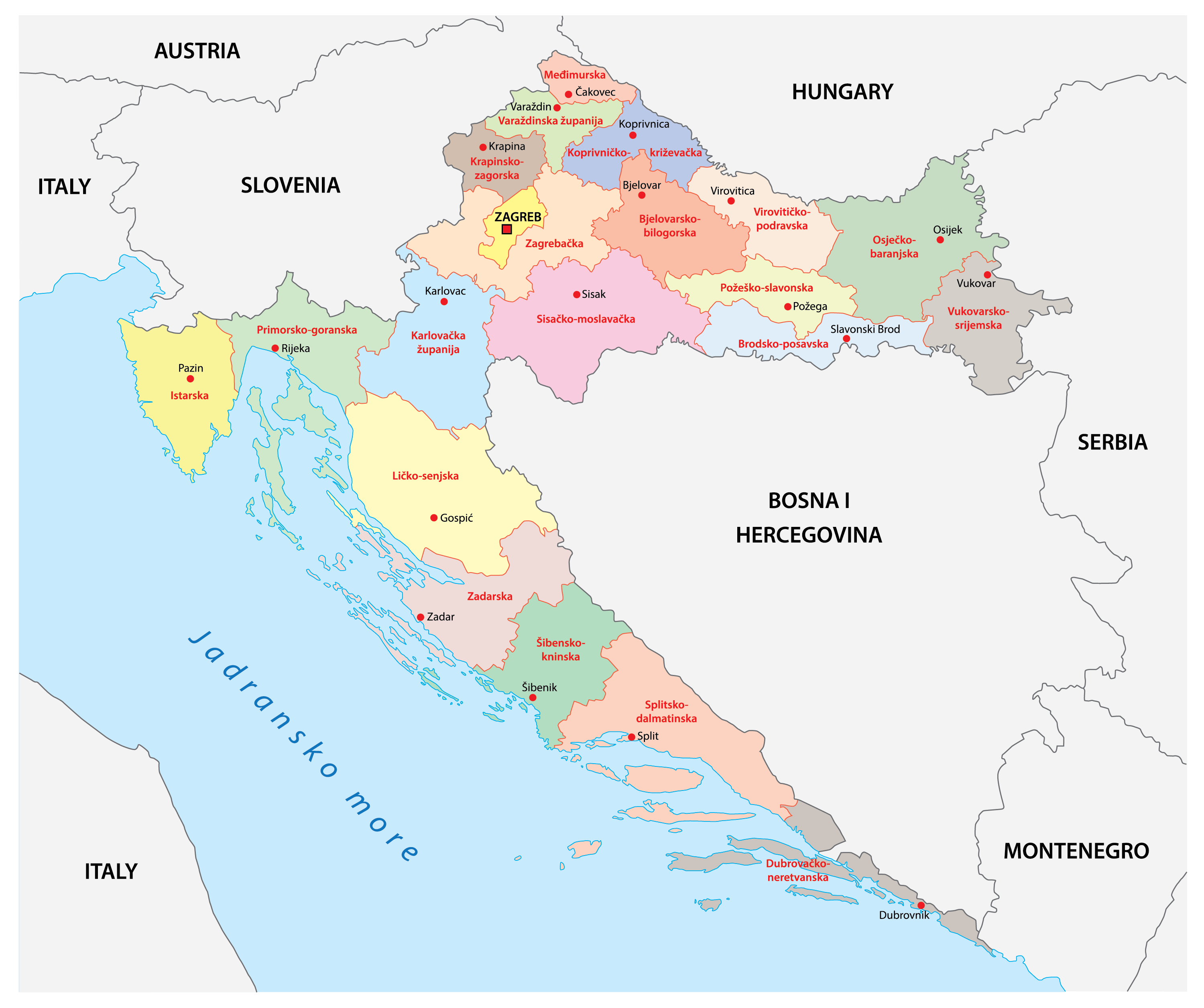 Political Map of Croatia showing its 20 counties and the capital city Zagreb.