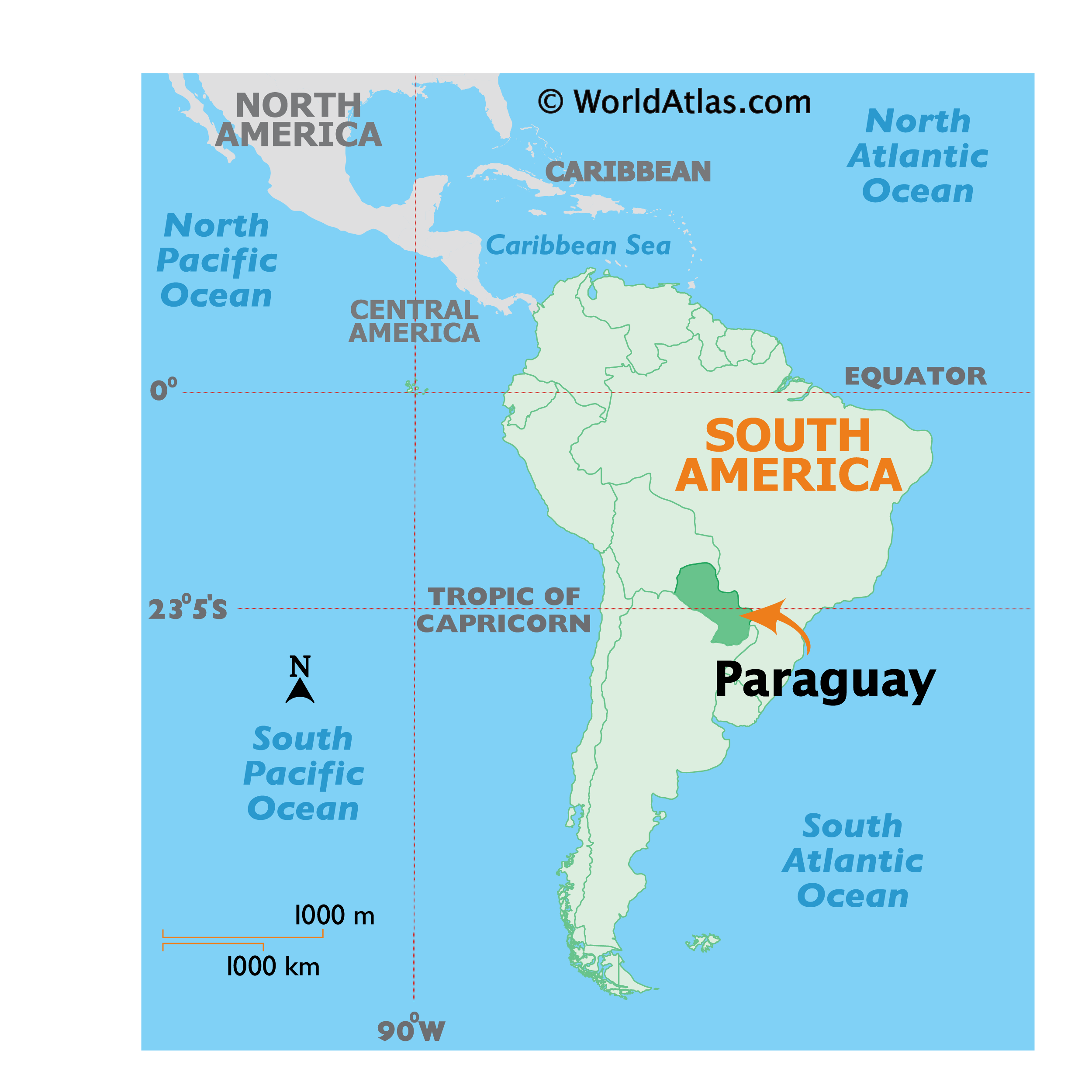 Map showing location of Paraguay in the world.
