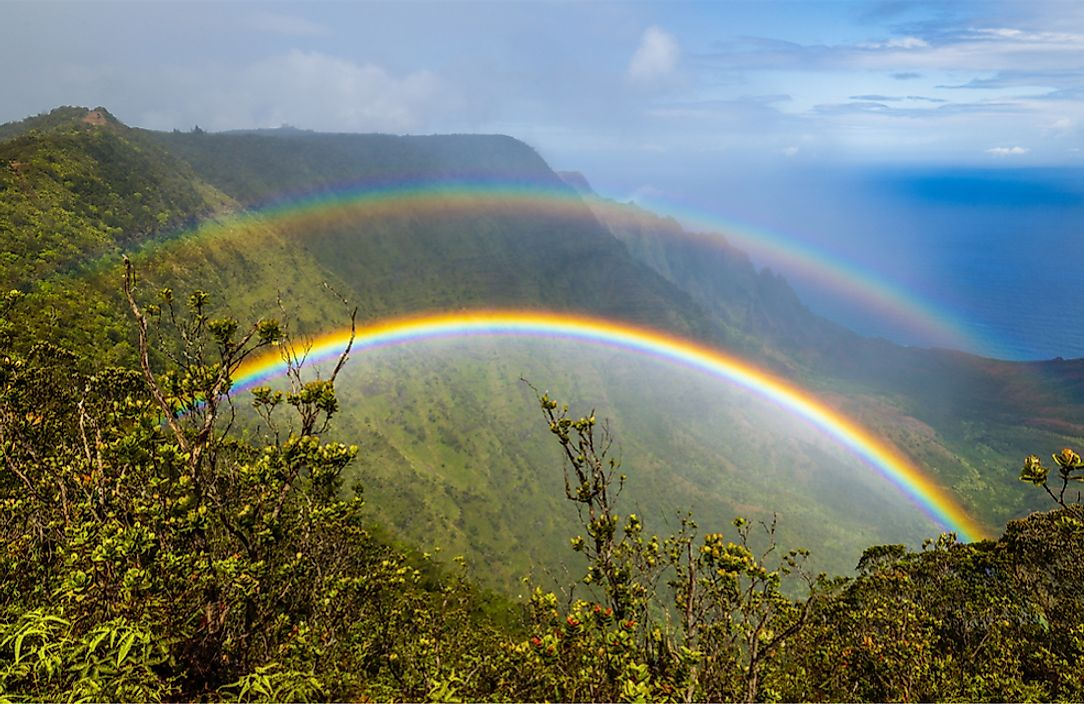 A double rainbow seen in Kauai, Hawaii.