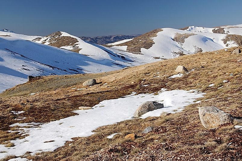 The Snowy Mountains in Kosciuszko National Park are home to Australia's highest peaks, including Mount Townsend.