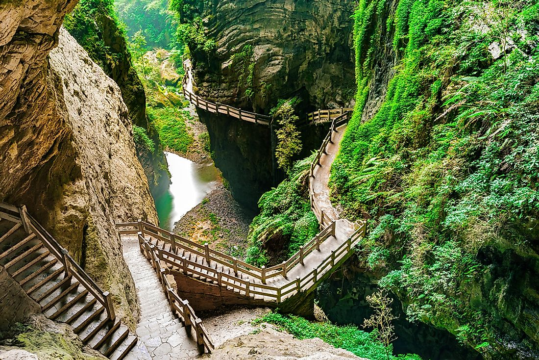 Boardwalks along the karst formations in the Longshuixia Fissure Gorge in southwest China.