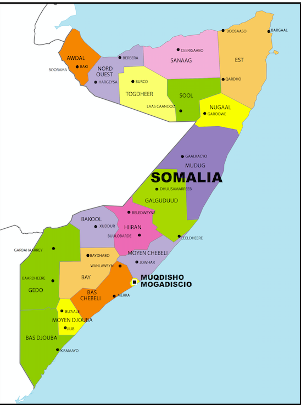 Political Map of Somalia showing the eighteen regions of the country, their capitals, and the national capital of Mogadishu.