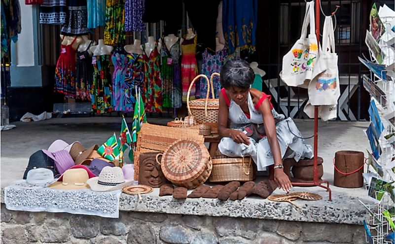 A souvenirs vendor along the main harbor street in Roseau, Dominica.