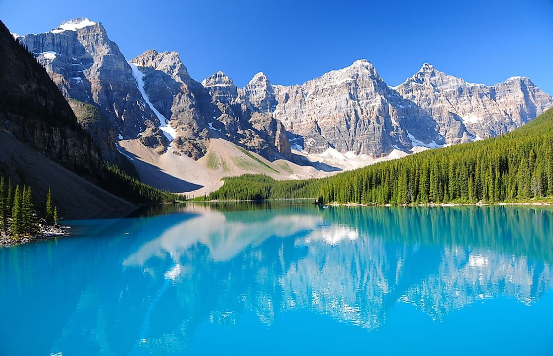 The unique coloration of Moraine Lake attributed to the glacial run-off that feeds the lake.