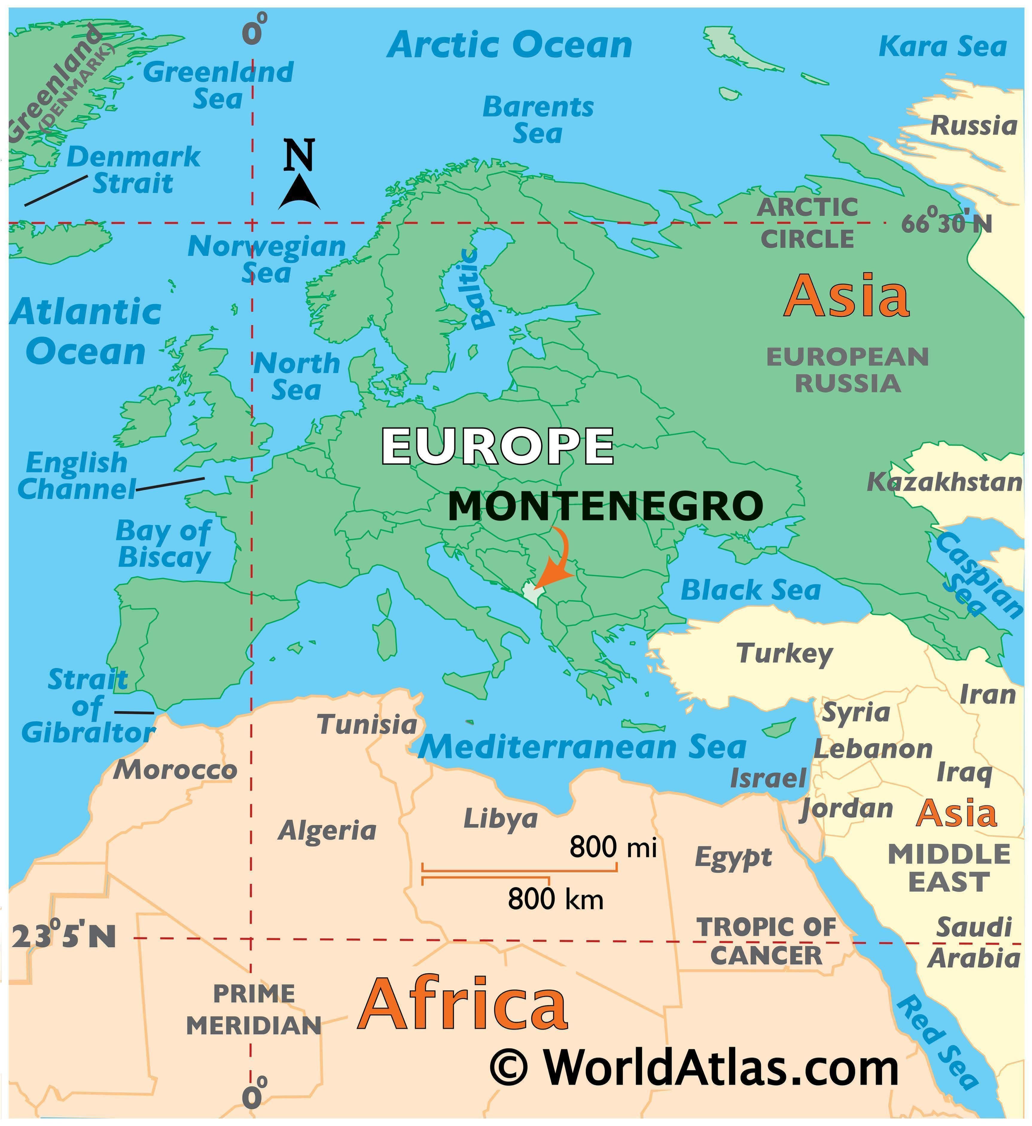 Map showing location of Montenegro in the world.