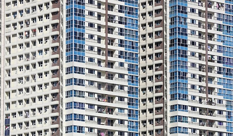 High-rise living is common in dense cities of the world.
