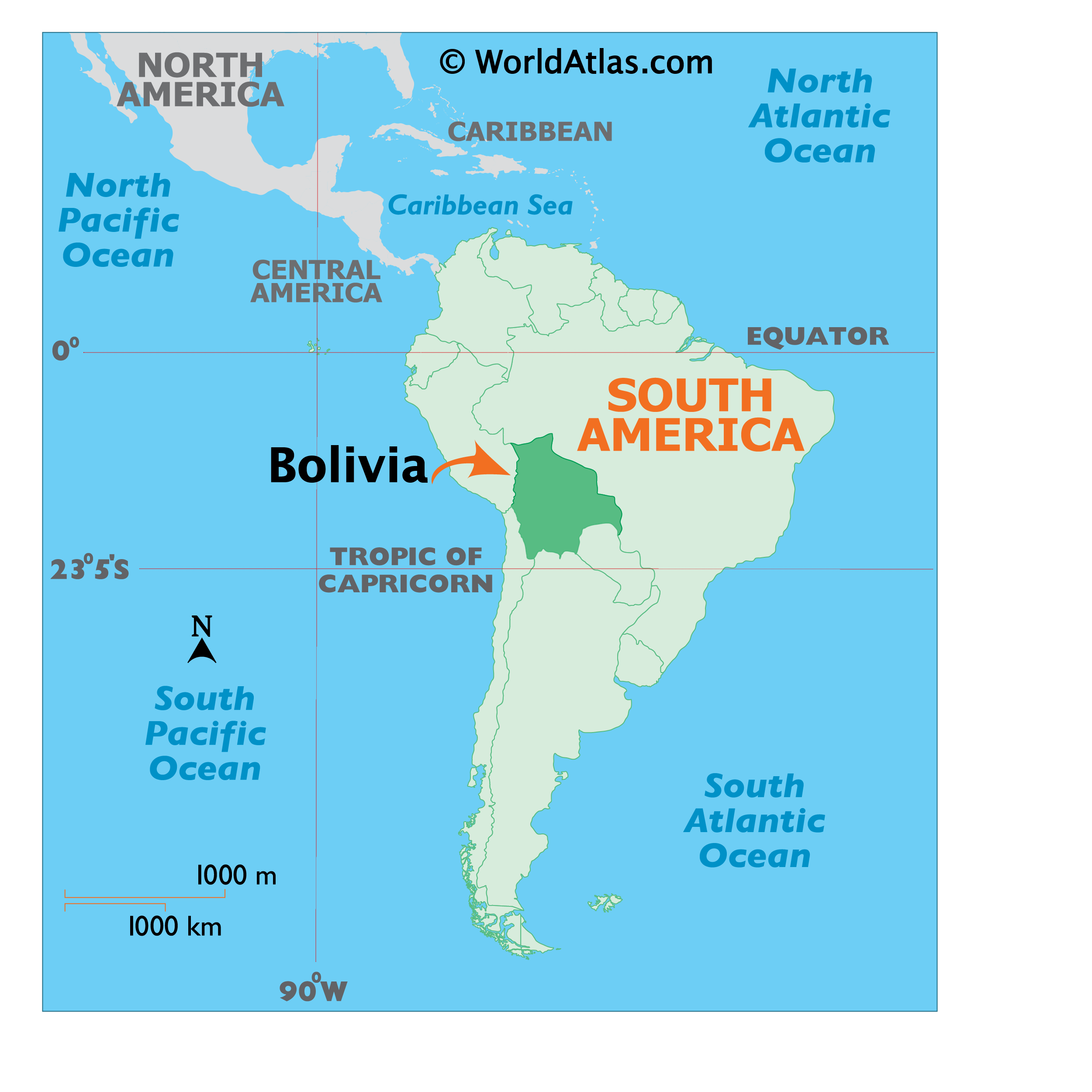 Map showing location of Bolivia in the world.