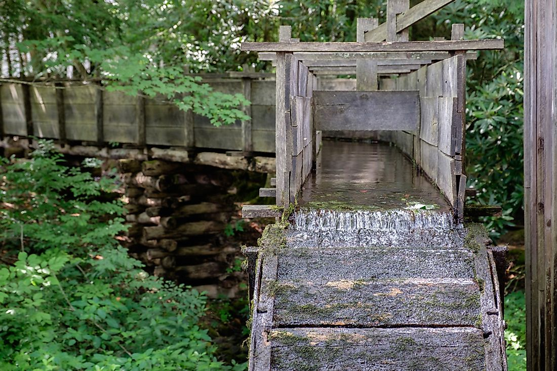 Flumes were traditionally built as part of a millrun to channel water to turn a water wheel.