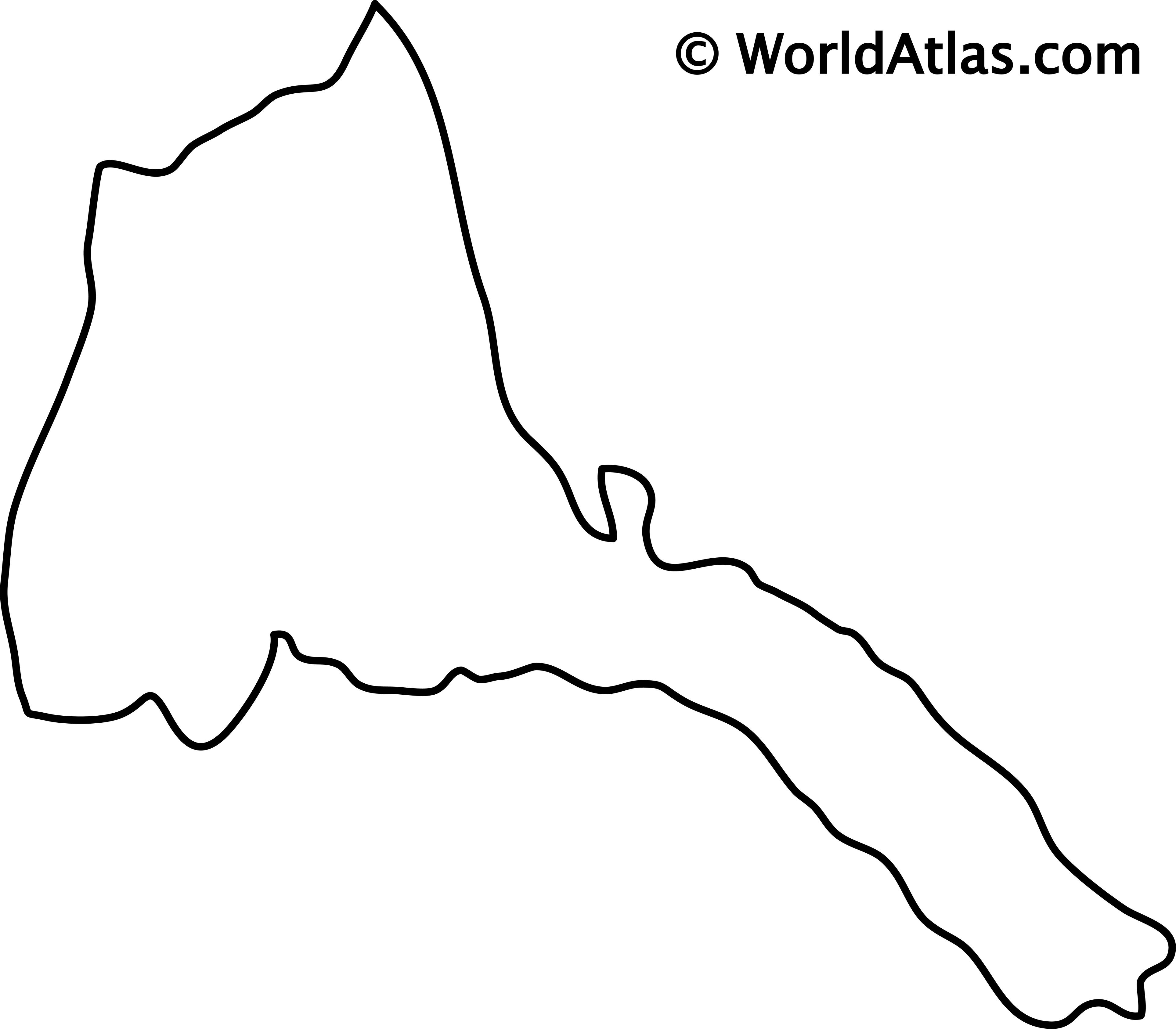 Blank Outline Map of Eritrea