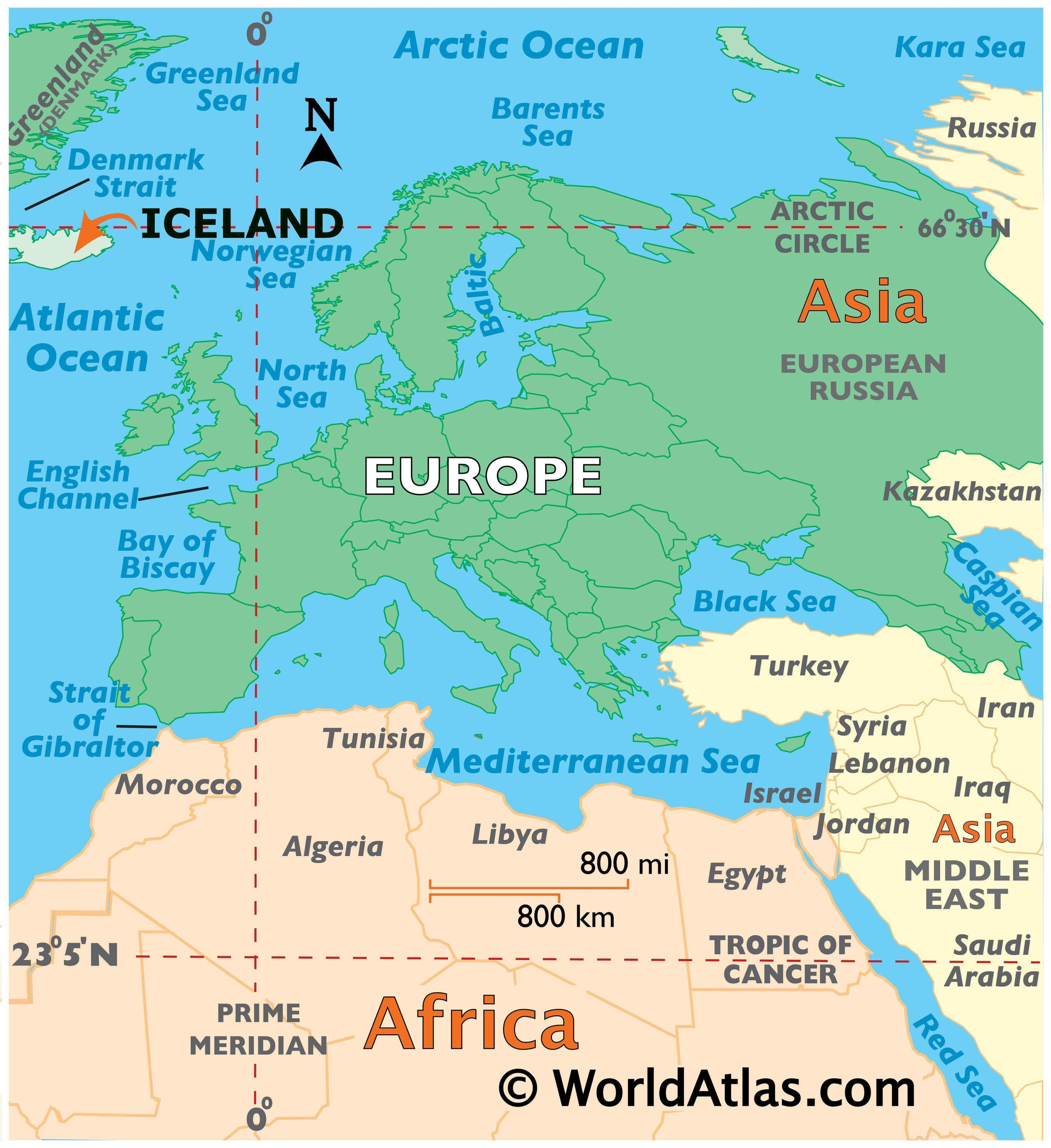Map showing location of Iceland in the world.
