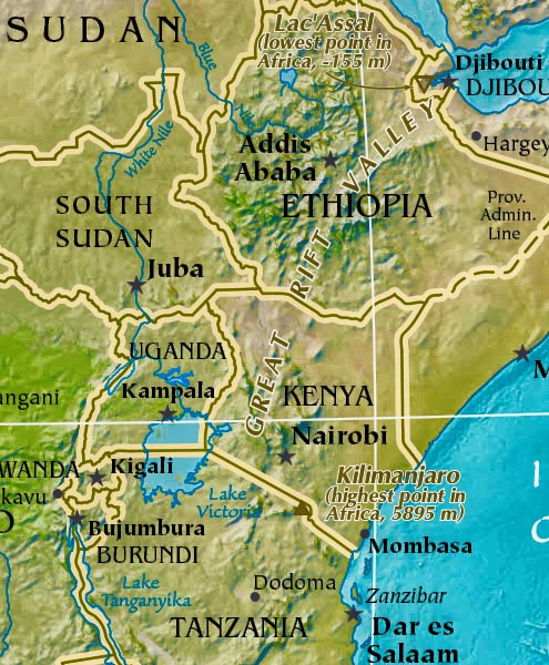 Africa great rift valley map