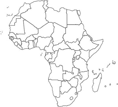 Elegant Africa Outline Map