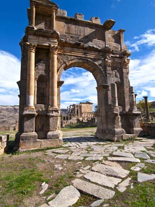 The Arch of Caracalla at the Roman Ruins of Djemila, Algeria, North Africa, Africa