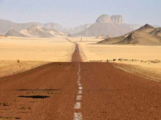 Long Straight Road in the Sahara Desert, Algeria, North Africa, Africa