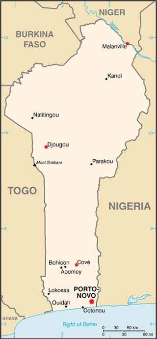 Benin latitude and longitude map