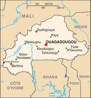 Burkina Faso latitude and longitude map
