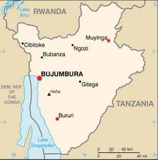 Burundi latitude and longitude map
