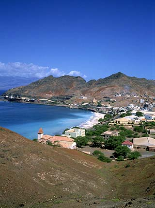 Bay and Town of Mondelo on Sao Vicente Island, Cape Verde Islands, Atlantic Ocean, Africa