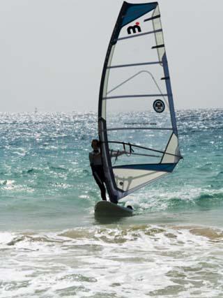 Wind Surfing at Santa Maria on the Island of Sal (Salt), Cape Verde Islands, Atlantic Ocean, Africa