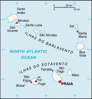 Cape Verde latitude and longitude map