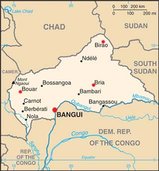 Central African Republic latitude and longitude map