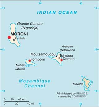 Comoros latitude and longitude map