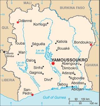 Cote d Ivoire latitude and longitude map