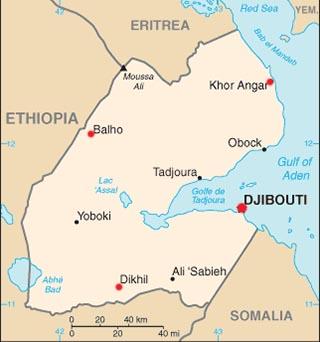 Djibouti latitude and longitude map