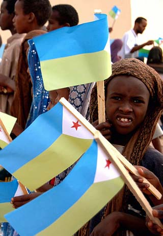 Djibouti children and flags