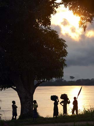 Children Seen on the Banks of the Congo River, Democratic Republic of Congo, Africa